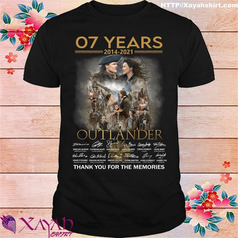 07 Years 2014 2021 Outlander thank you for the memories signatures shirt