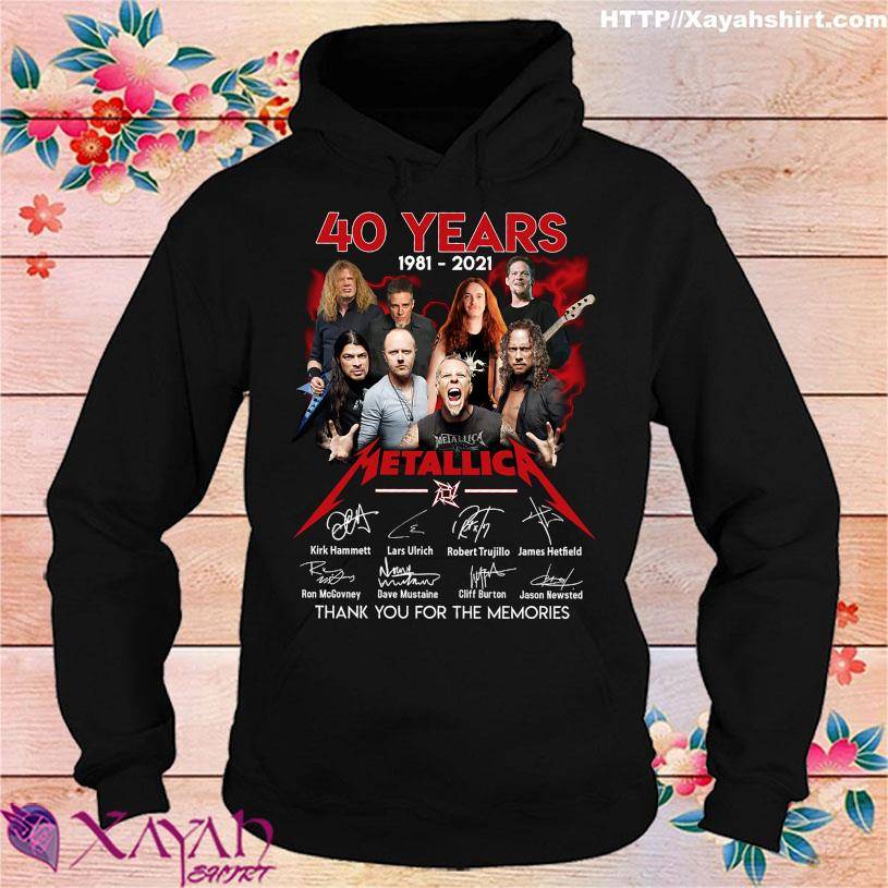 2021 40 years 1981 2021 Metallica thank You for the memories signatures hoodie