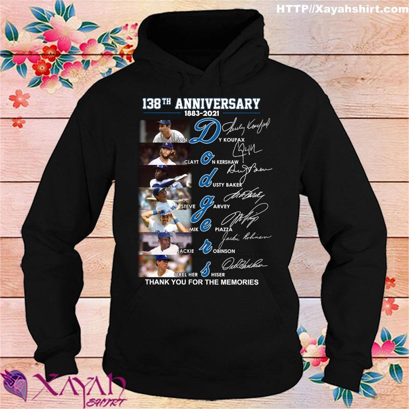 138TH Anniversary 1883 2021 Dodgers thank You for the memories signatures hoodie