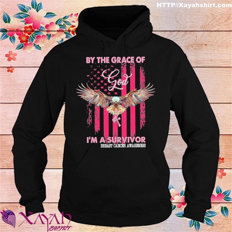 Eagle by the grace of God I'm a survivor breast cancer awareness American flag s hoodie