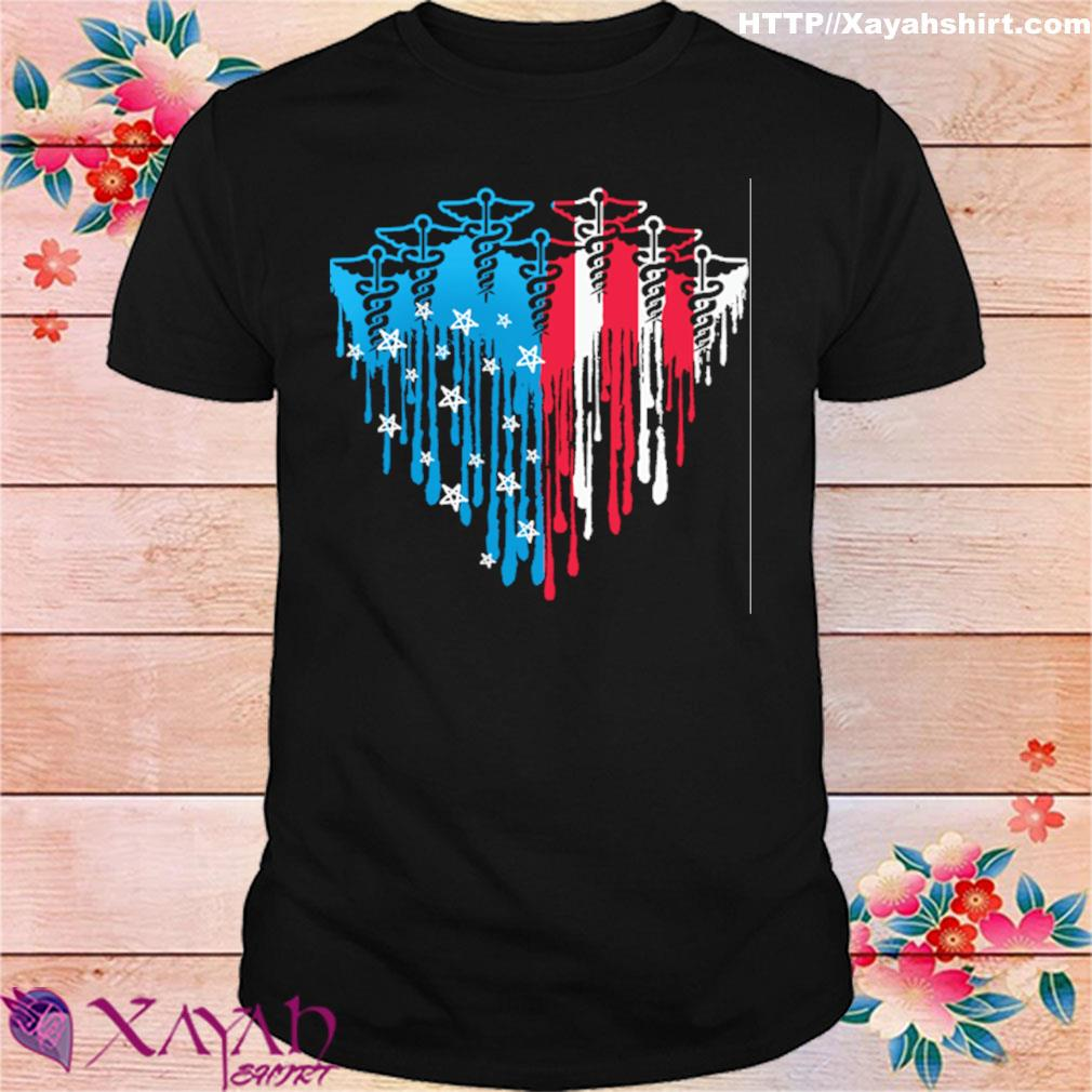 Xuforget Mens American Flag Baseball Heart Casual Short Sleeve Tee Cotton Tops