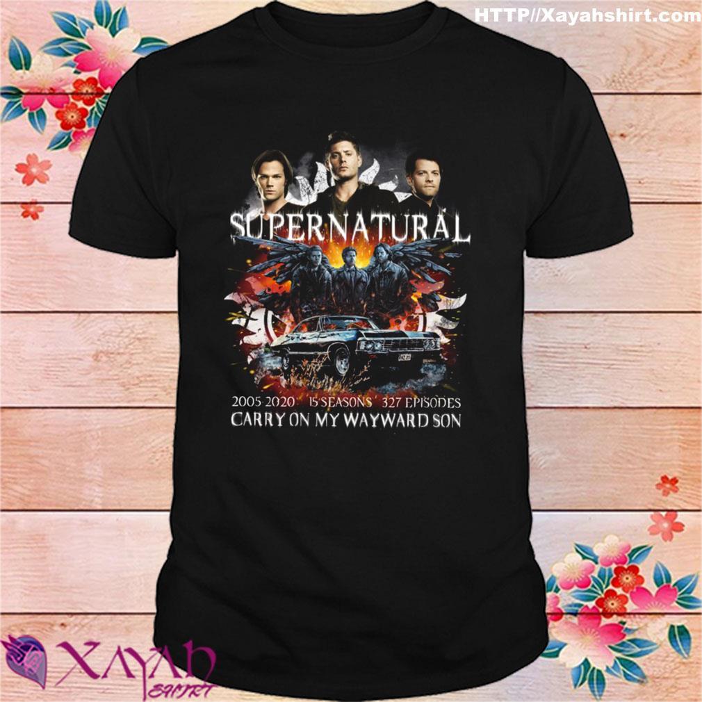 Supernatural 2005 2020 15 seasons 327 episodes carry on my wayward son shirt